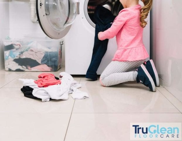 Tile and grout cleaning, little girl doing laundry