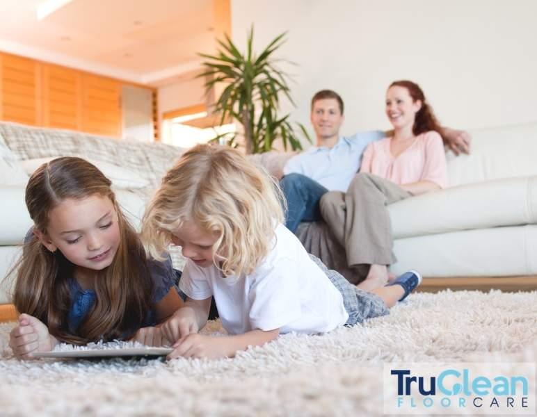 Carpet cleaning, kids laying on carpet