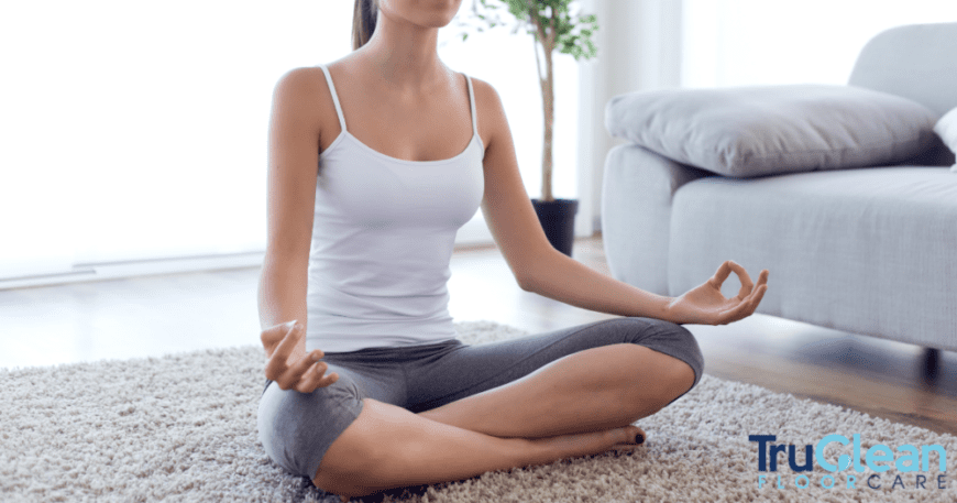 Rug Cleaning, woman doing yoga